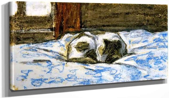 Cat Sleeping On A Bed By Claude Oscar Monet