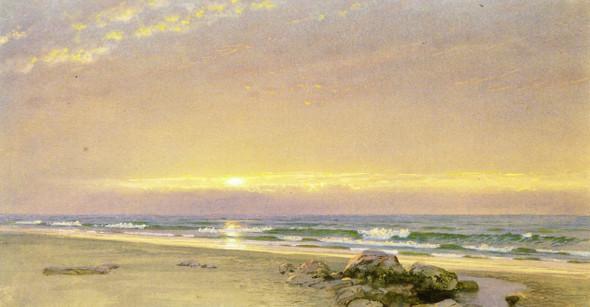 Coastal Scene, Setting Sun By William Trost Richards By William Trost Richards