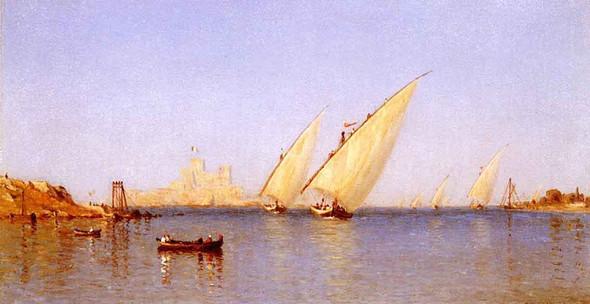 Fishing Boats Coming Into Brindisi Harbor By Sanford Robinson Gifford