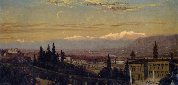 Florence With Mountains In Background By William Trost Richards By William Trost Richards