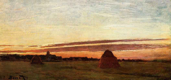 Grainstacks At Chailly At Sunrise By Claude Oscar Monet