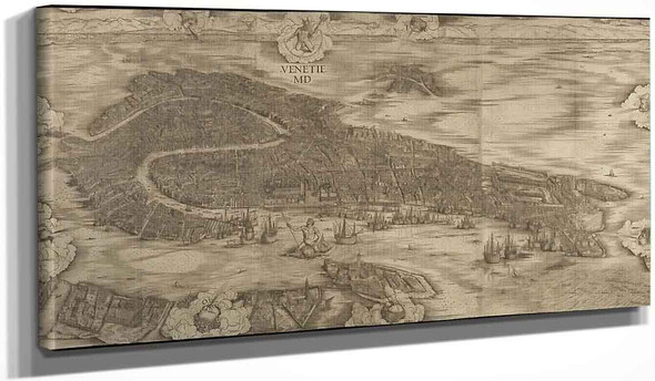 Map Of Venice By Jacopo Barbari  By Jacopo Barbari