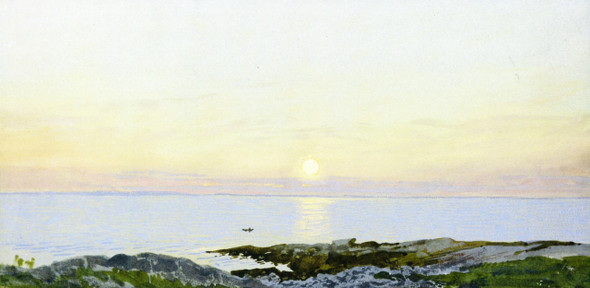 Marine View In Setting Sun By William Trost Richards By William Trost Richards