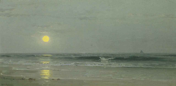 Moonrise Over The Beach By William Trost Richards By William Trost Richards