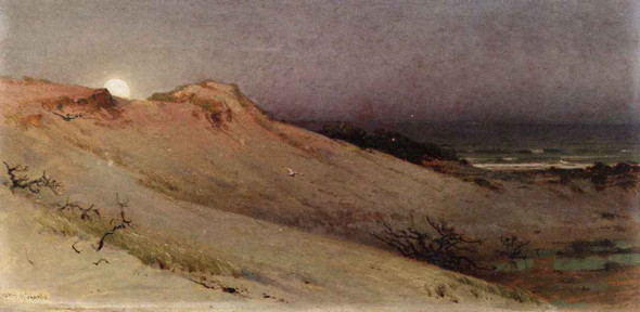 Moonrise Over The Dune 2 By William Trost Richards By William Trost Richards
