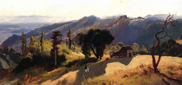 Mountain House With Strong Shadow By William Keith