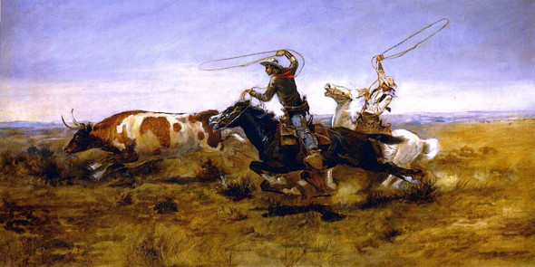Oh Cowboys Roping A Steer By Charles Marion Russell