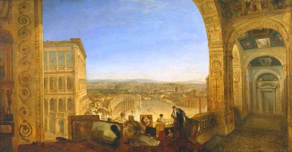 Rome, From The Vatican. Raffaelle, Accompanied By La Fornarina, Preparing His Pictures For The Decor By Joseph Mallord William Turner