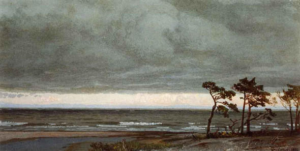 Seascape With Pines And Overhanging Clouds By William Trost Richards By William Trost Richards