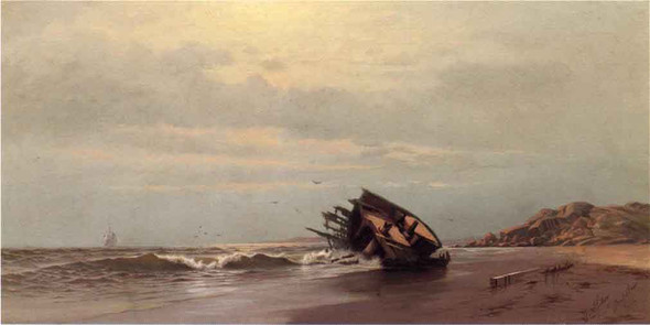 Shipwreck On A Sandy Beach By Francis A. Silva