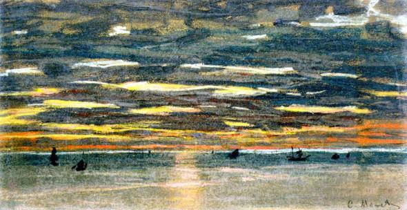 Sunset Over The Sea By Claude Oscar Monet