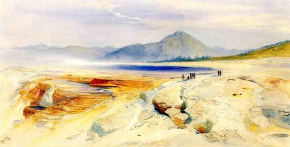 The Great Hot Springs, Gardiners River By Thomas Moran