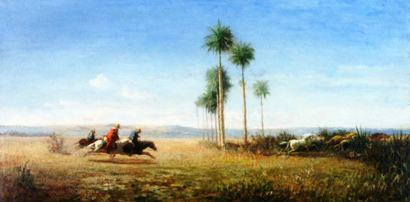 Three Riders And Horses Galloping On A Plain  By Camille Pissarro