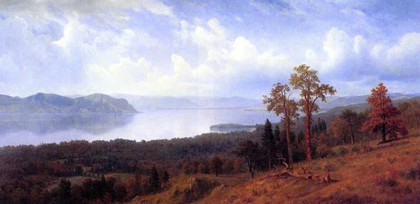 View Of The Hudson Looking Across The Tappan Zee Towards Hook Mountain By Albert Bierstadt