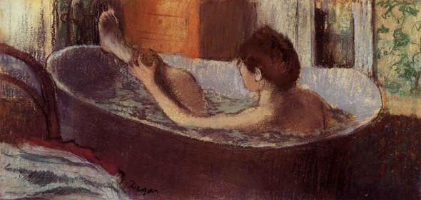 Woman In A Bath Sponging Her Leg By Edgar Degas