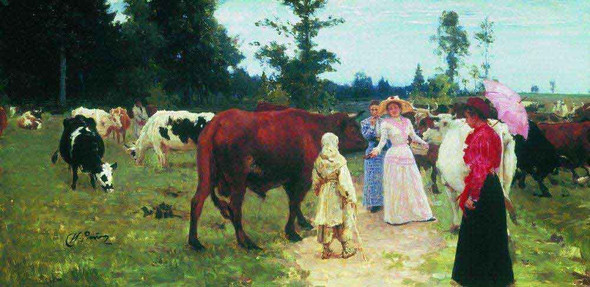 Young Ladys Walk Among Herd Of Cow. By Ilia Efimovich Repin
