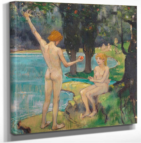 Adam And Eve (Also Known As Paradise) Ludwig Von Hofmann
