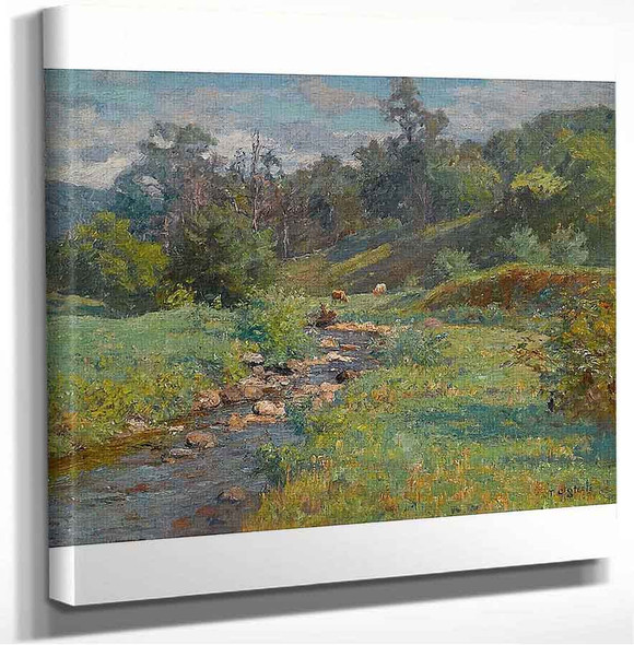 Cows Watering By A Stream Theodore Clement Steele