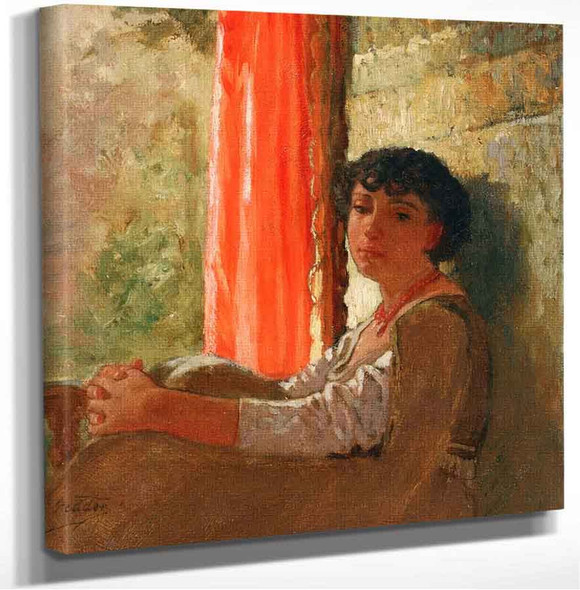 Seated Girl With A Red Curtain Elihu Vedder