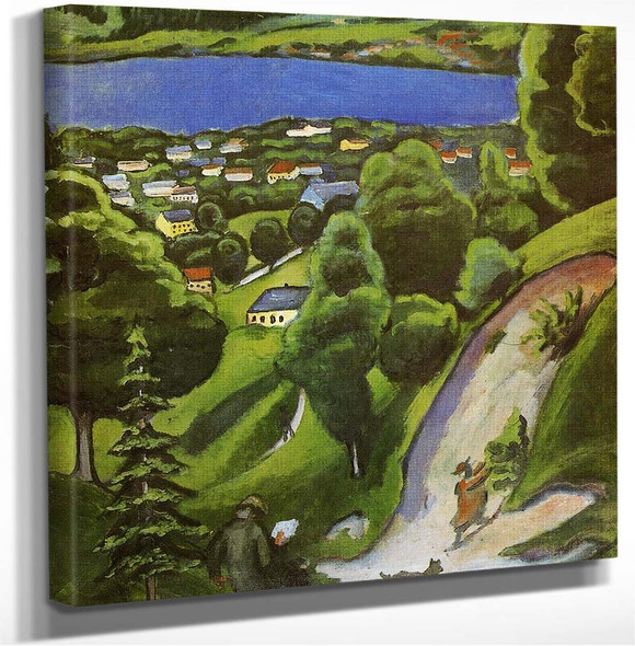 Tegernsee Landscape With Man Reading And Dog August Macke