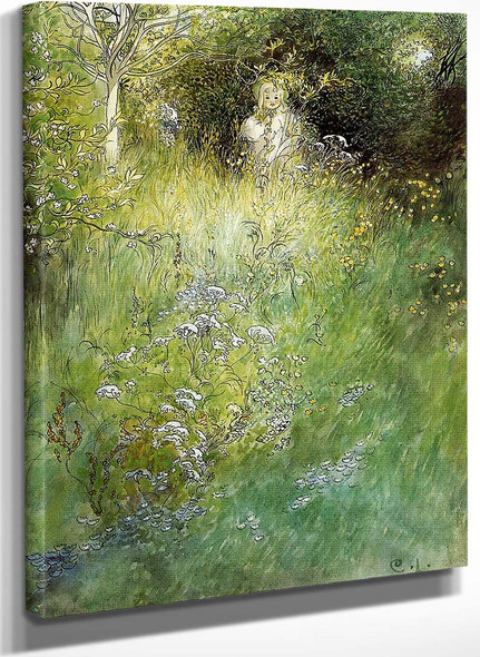 A Fairy Kersti And A View Of A Meadow By Carl Larssonv