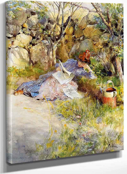 A Lady Reading A Newspaper By Carl Larssonv