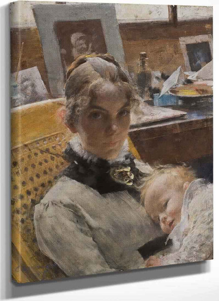 A Studio Idyll. The Artists Wife And Their Daughter By Carl Larssonv