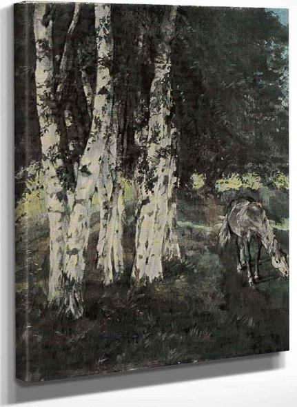 Birches With Horse (Also Known As Birken Mit Pferd) By Wilhelm Trubner