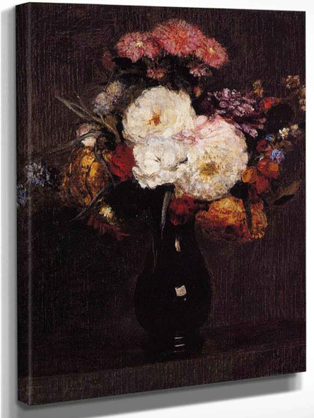 Dahlias, Queens Daisies, Roses And Corn Flowers By Henri Fantin Latour By Henri Fantin Latour