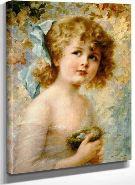 Girl Holding A Nest By Emile Vernon