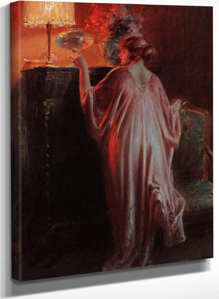 Interior Scene With A Young Woman By Delphin Enjolras