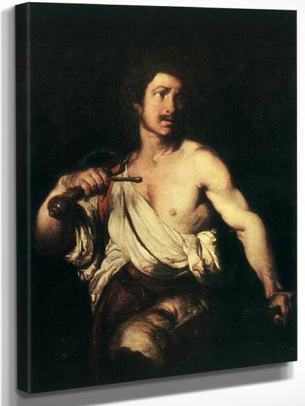 David With The Head Of Goliath By Bernardo Strozzi