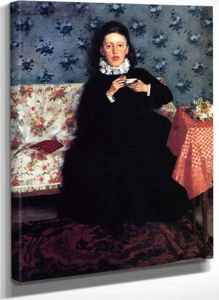 On The Sofa By Wilhelm Trubner