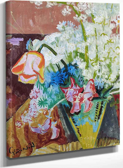 Poppies And Other Flowers By Isaac Grunewald
