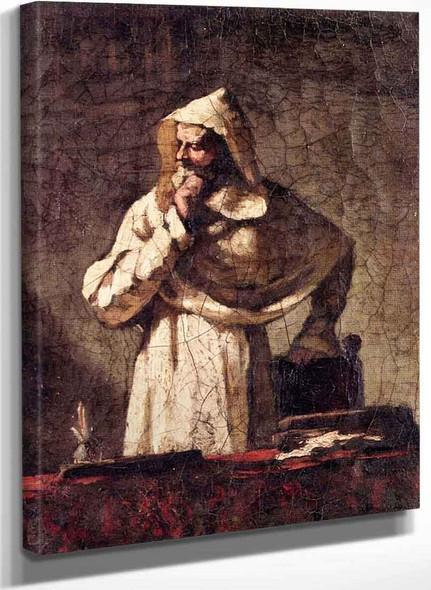 Portrait Of A Contemplative Monk By Elihu Vedder