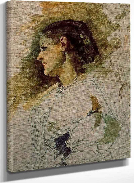 Valencian Girl By Ignacio Pinazo Camarlench