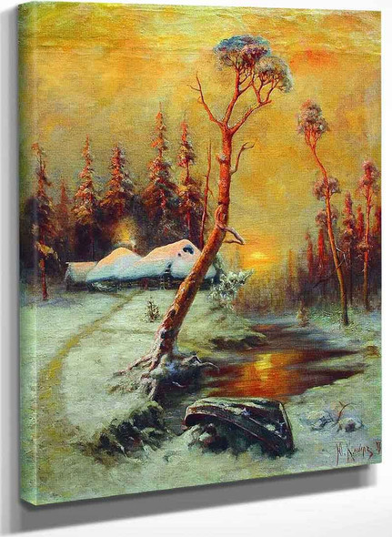 Winter Landscape With Pine Trees By Julius Klever