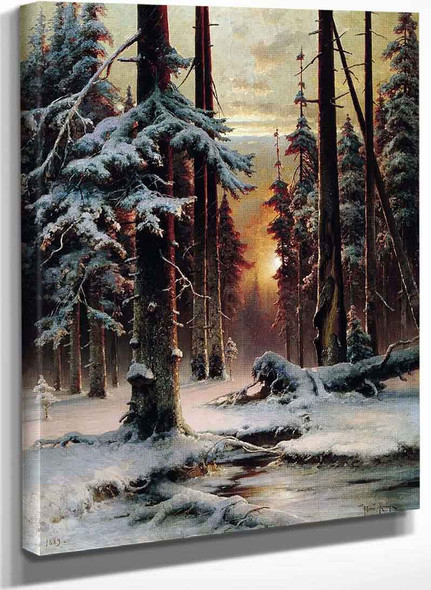 Winter Sunset In The Forest By Julius Klever