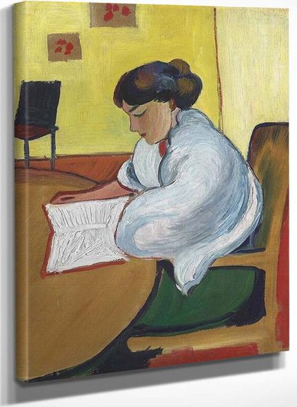 Woman Reading By August Macke