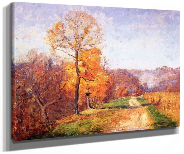 Along A Country Lane By Theodore Clement Steele