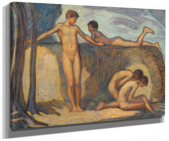 Bathing Boys By Ludwig Von Hofmann
