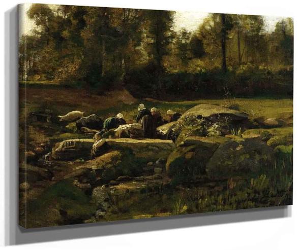 Breton Laundresses At Douarnenez By Jules Adolphe Breton