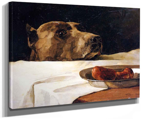 Dog With Plate Of Sausages (Also Known As Caesar At The Rubicon) By Wilhelm Trubner