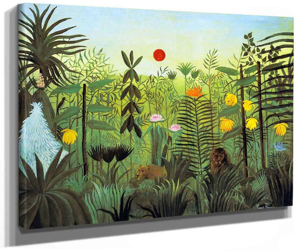 Exotic Landscape With Lion And Lioness In Africa By Henri Rousseau