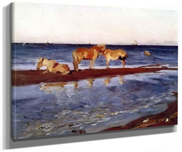 Horses On A Shore By Valentin Serov