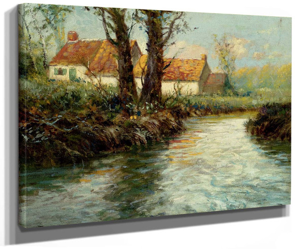 House By The Waters Edge By Fritz Thaulow
