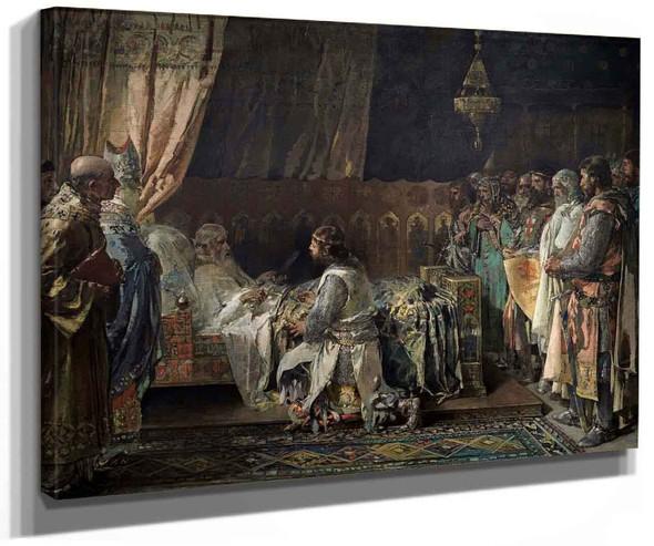 In His Final Moments King Jaime El Conquistador Gives His Sword To His Son Pedro By Ignacio Pinazo Camarlench