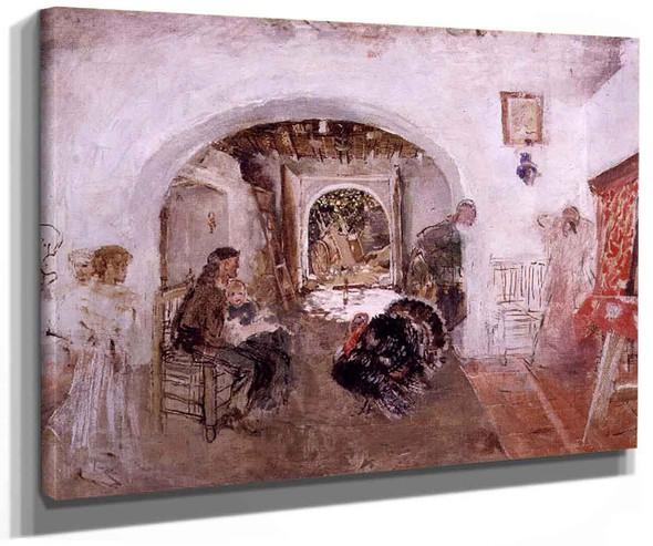 Interior Of A Valencian Farmhouse By Ignacio Pinazo Camarlench