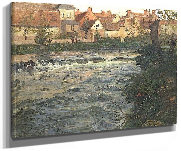 Landscape And River By Fritz Thaulow