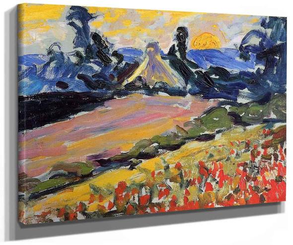 Landscape With Sunset By Henri Edmond Cross